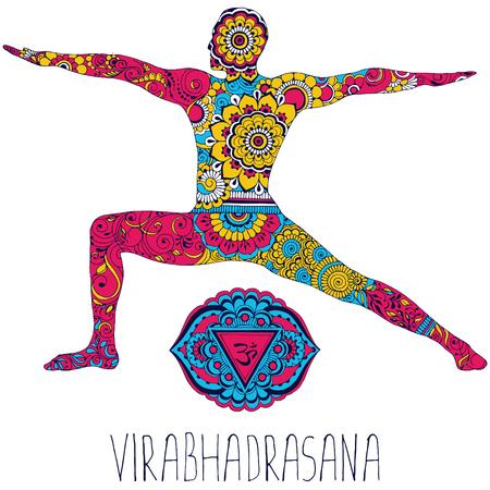 Virabhadrasana. This opens the Ajna chakra. Silhouette in indian mehndi style.