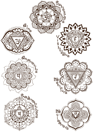 A set of symbols symbolizing the chakras