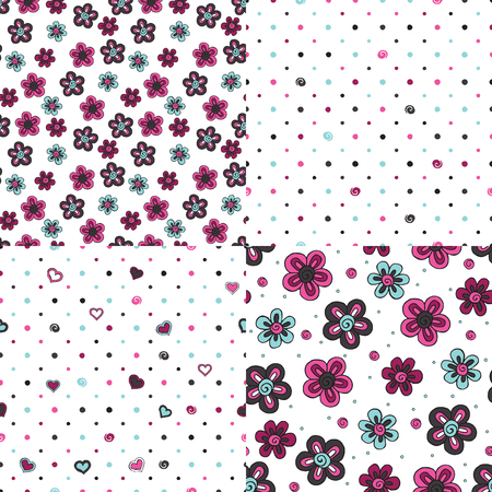 Stylized flowers on white background. Set of seamless patterns. Illustration