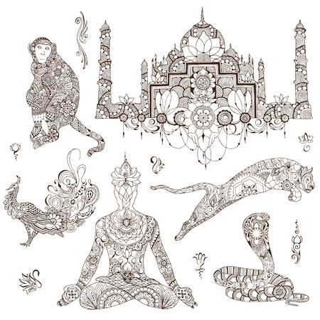 A set of elements for design, symbolizing India. Silhouettes decorated with Indian patterns. Vektorové ilustrace