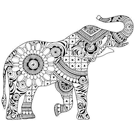 Un elefante con una proboscide su sfondo bianco. Silhouette decorata con motivi indiani. Simbolo di stabilità e invulnerabilità.