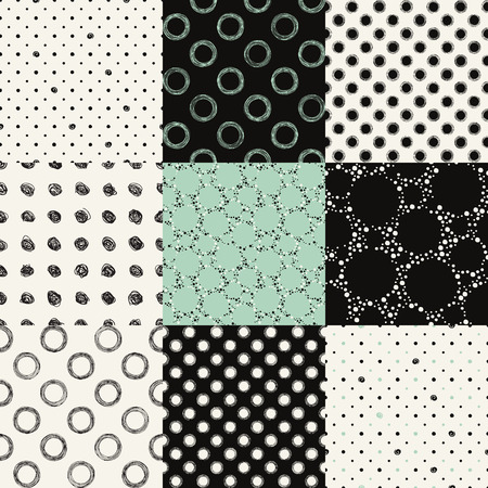 Set of seamless pattern with dots, circles, specks. Illustration