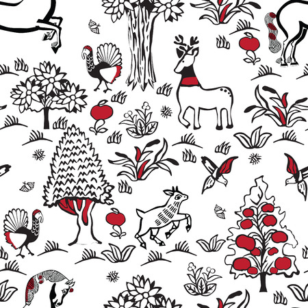 Russian fairy folklore. Seamless pattern in the old Slavian style.