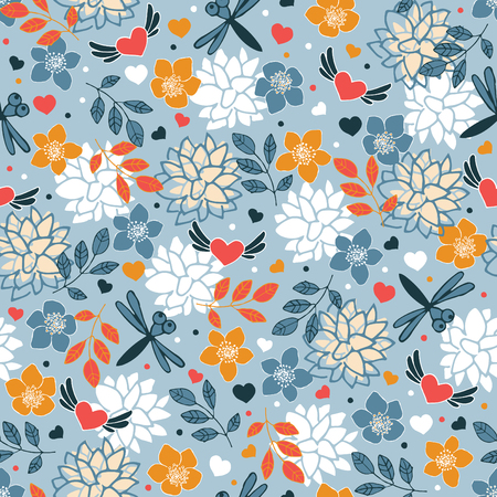 Spring seamless pattern. Flying hearts and butterflies on a floral background.