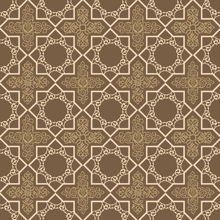Seamless pattern in oriental style. Ornate decor on a brown background.