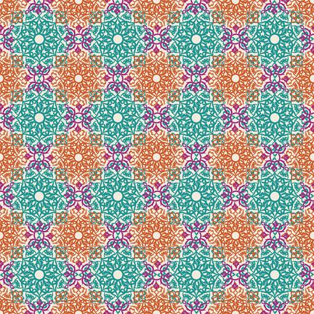 Seamless pattern with ornate decor. Bright ornament in oriental style. Ilustração