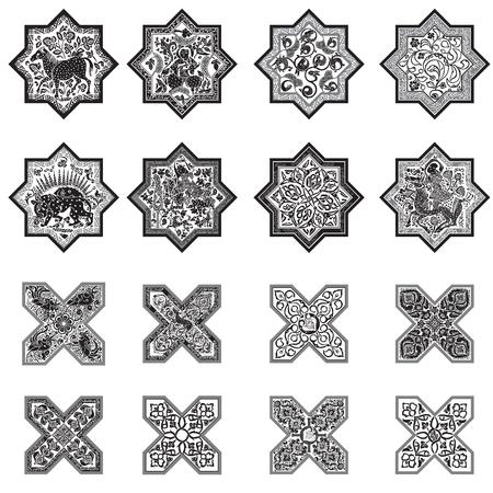 Tiles in folklore. Set for design. Ilustração