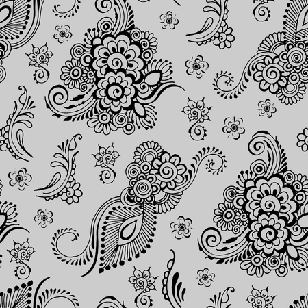 Indian floral ornament on a gray background. Seamless pattern in mehndi style.