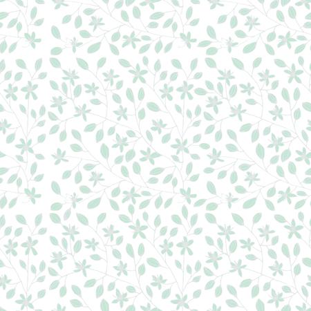 Spring seamless pattern. Hand drawn sprigs of flowers and buds. Ilustração
