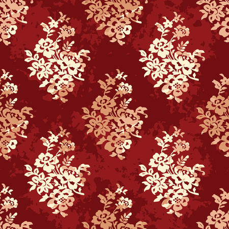 Pattern in oriental floral fabric.