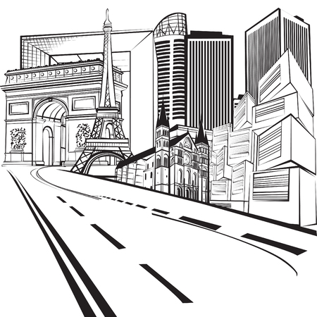 Vacation in France. The road leading to the sights of Paris. Black and white linear pattern.