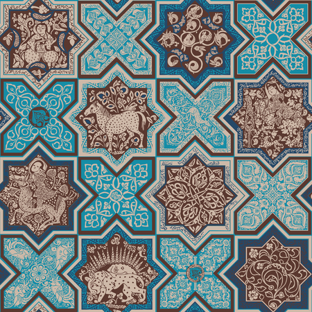 Mosaic tiles Seamless pattern. Ilustração