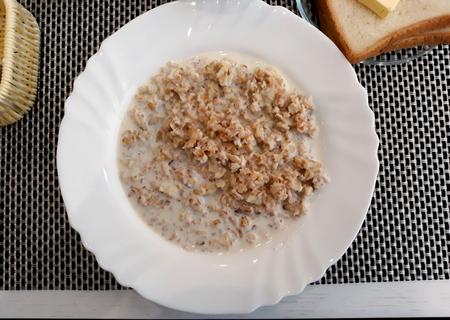 A serving of oatmeal. European breakfast.