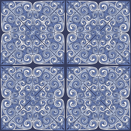 European ornament in blue tones. Seamless pattern. Ilustração