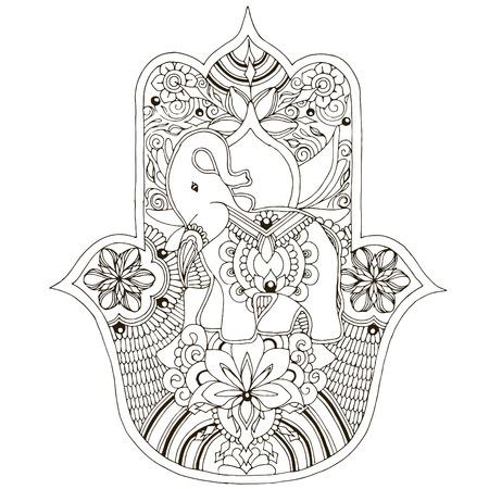 Hams with elephant inside. Mehndi style palm on a white background.