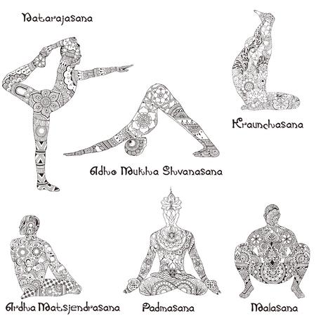 6 asanas in yoga. Indian Mehndi Silhouettes