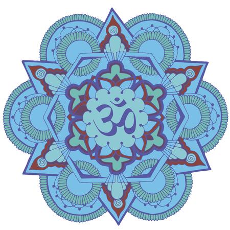 Pattern of Indian Mehndi. Om sign inside the circle. Ilustração