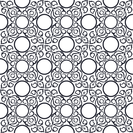 Black and white seamless pattern with oriental patterns.