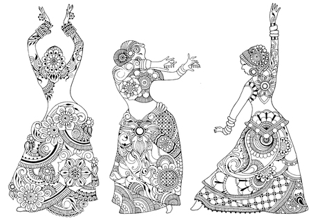 Three Indian dancers on a white background.