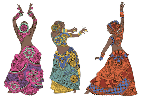 Indian dancers in the style of mehndi. Three bright girls on a white background.