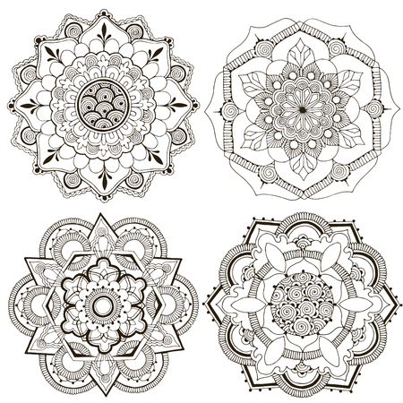 Set of indian patterns. 4 mandalas decorated with a pattern in the style of mehndi.