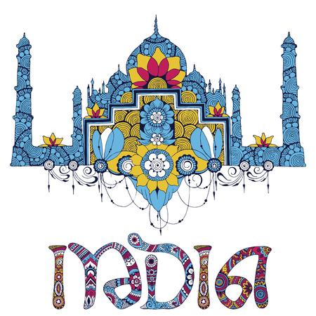 Miniature symbolizing India. The decor on a white background.