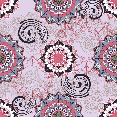 Seamless pattern in oriental style. Ornate background in Indian style. Hand drawn ornament in indian mehndi style.