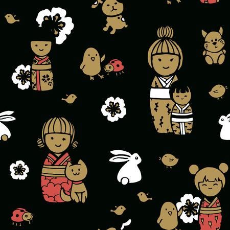 Seamless pattern in japanese style. Kokeshi dolls on a dark background.