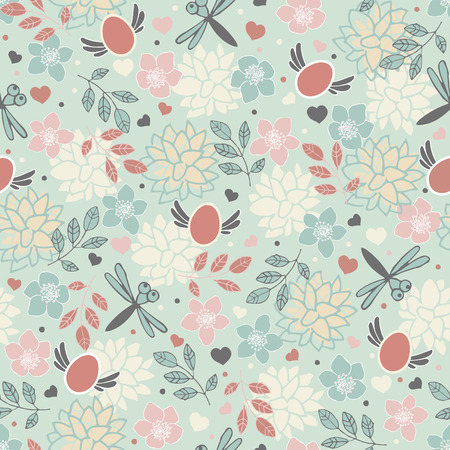 Spring nature with dragonflies. Seamless easter pattern.