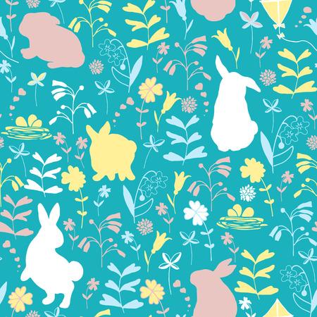 Easter seamless pattern. Flowers and rabbits on a blue background. Ilustração