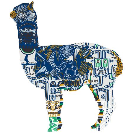 Peruvian alpaca with ethnic patterns.