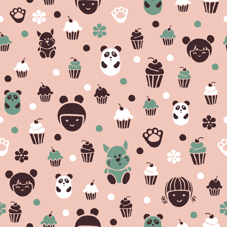 Seamless pattern in kodomo style. Cakes and little animals on a pink background.