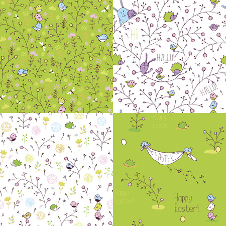 Set of spring seamless patterns. Stylized animals and nature.