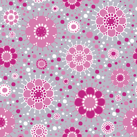 Flashing pink dots. Stylized flowers. Seamless pattern.