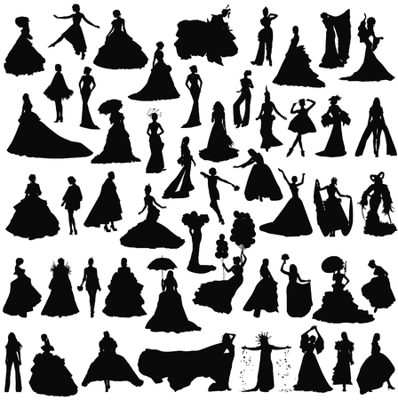 Brides in different dresses and poses. Set of silhouettes on a white background. Ilustração