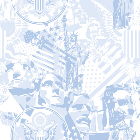 Symbols of the USA. Seamless pattern. Ilustração