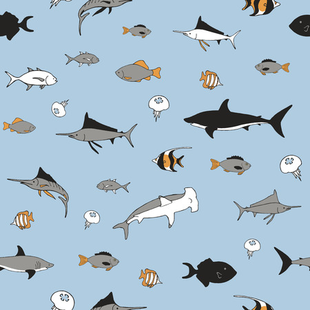 Hand drawn fish on a blue background. Seamless pattern.