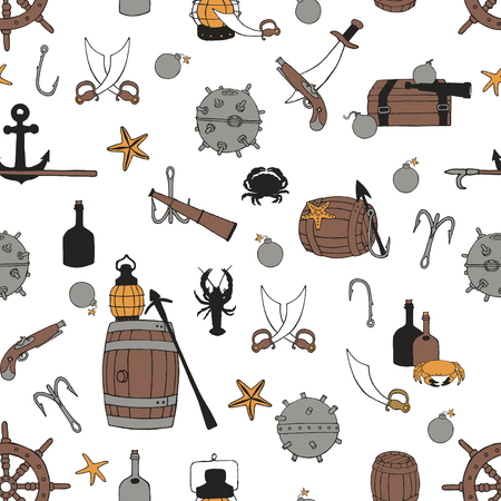 Seamless pattern with a pirate theme.