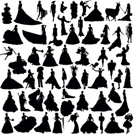 Set of female silhouettes. A lot of brides on a white background.