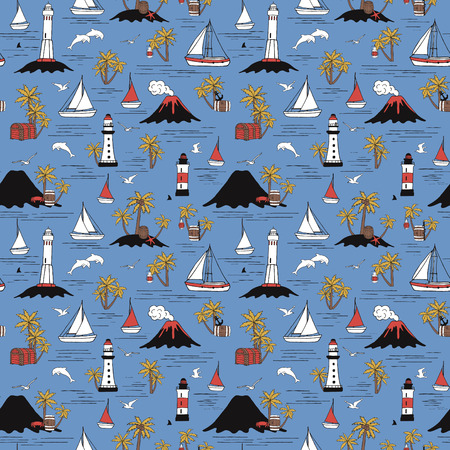 Travel by sea. Seamless pattern with lighthouses and ships.