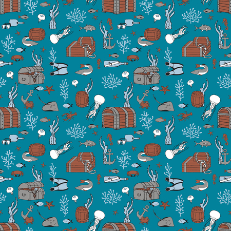 Marine seamless pattern. The bottom with chests and marine life.