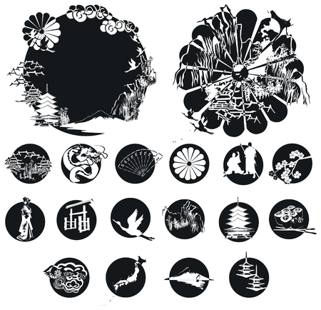 Silhouettes associated with Japan. Samurai, sushi, pagoda and other miniatures in circles. Ilustração