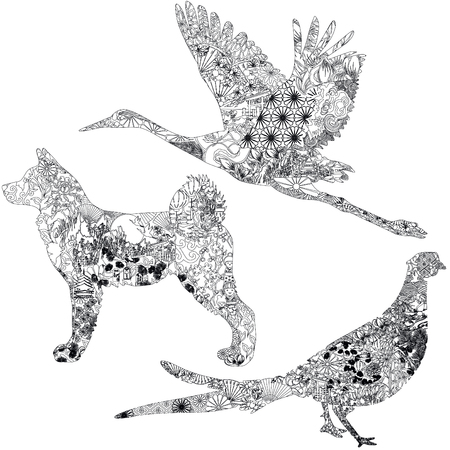 Akita, green pheasant and stork decorated with Japanese patterns. Three animals associated with Japan on a white background.