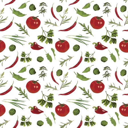 Appetizing herbs and spices on a white background. Seamless pattern.