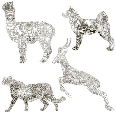 A set of animal symbols of the different countries. Akita - Japan, Asiatic cheetah - Iran, alpaca - Peru, Gairan - Uzbekistan. Decorated with ethnic ornaments.
