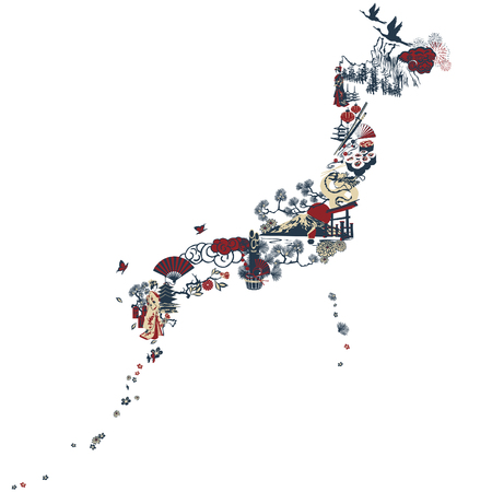 Pictures symbolize Japan. Cranes, pagoda, thorium and other miniatures folded in the silhouette of Japan.