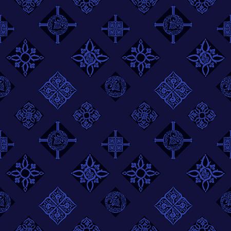 Seamless pattern. Bright blue oriental ornament. Ilustração