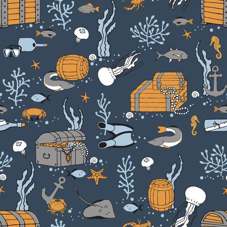 Underwater world with fish and treasure. Seamless pattern.