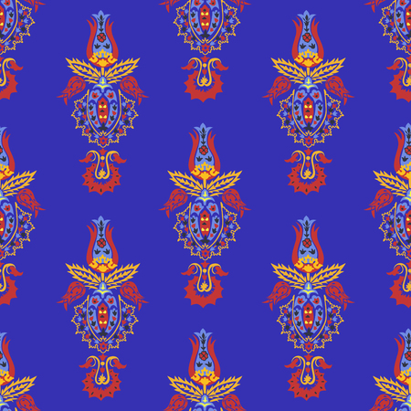 Bright seamless pattern with Central Asian ornaments.