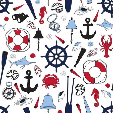 Seamless pattern with attributes symbolizing seafaring.